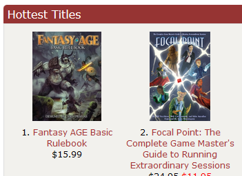 Focal Point hits #2 on the DriveThruRPG Hottest Titles list
