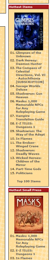 Masks hits the top of the charts on DriveThruRPG and RPGNow