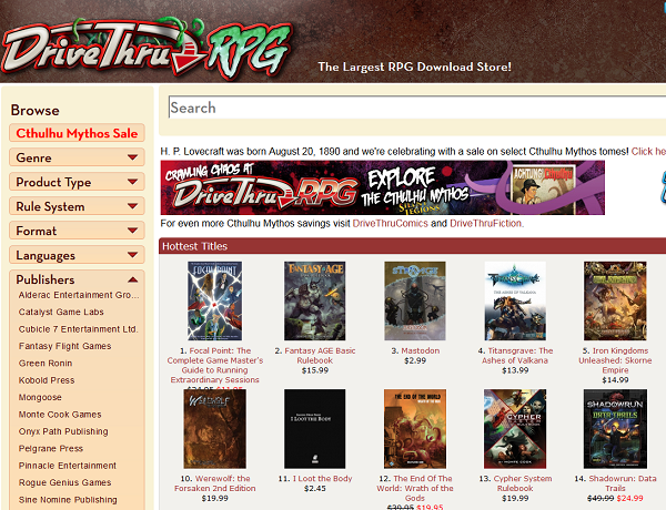 Focal Point is #1 in DriveThruRPG's Hottest Titles!